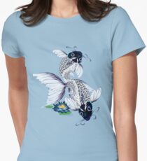 White Koi-Blue Lily  Women's Fitted T-Shirt