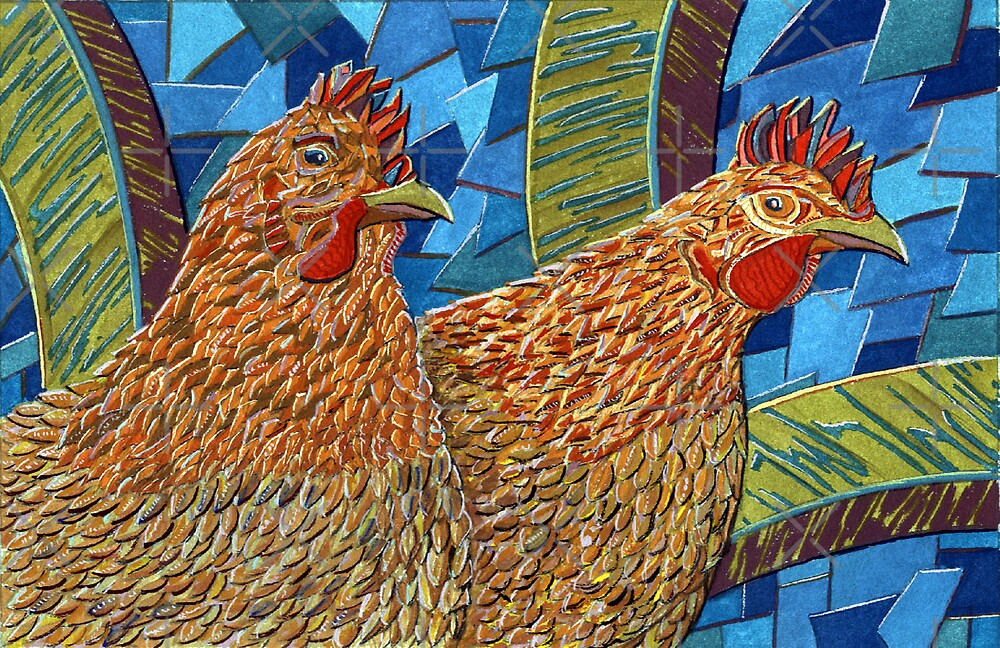 183 - TWO HENS - DAVE EDWARDS - GOUACHE - 2007 by BLYTHART