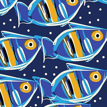 Blue Fishes of Cannes Pattern Art  by signorino