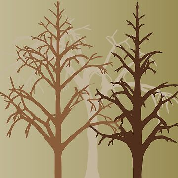 Brown Forest Trees Cool Woodland Scene by CreativeTwins