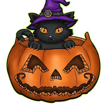 Cat Witch Funny Jack O Lantern Kitten Lover Gift by BlueBerry-Pengu