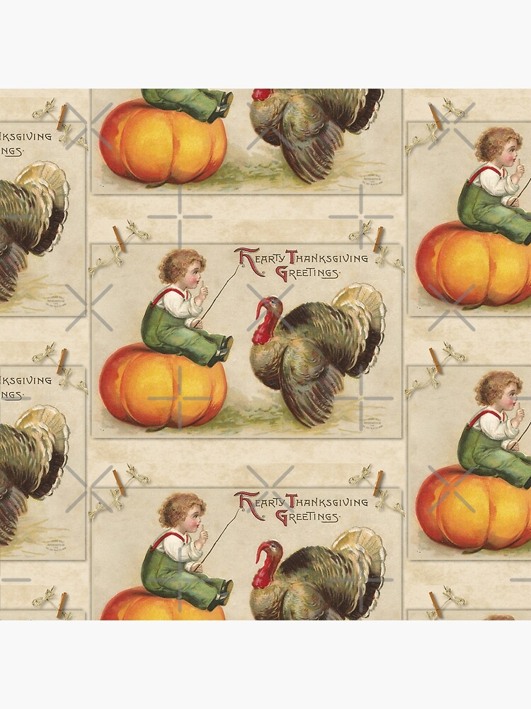 Adorable Child Sitting on a Thanksgiving Pumpkin Tempting a Tom Turkey by ButterflysAttic