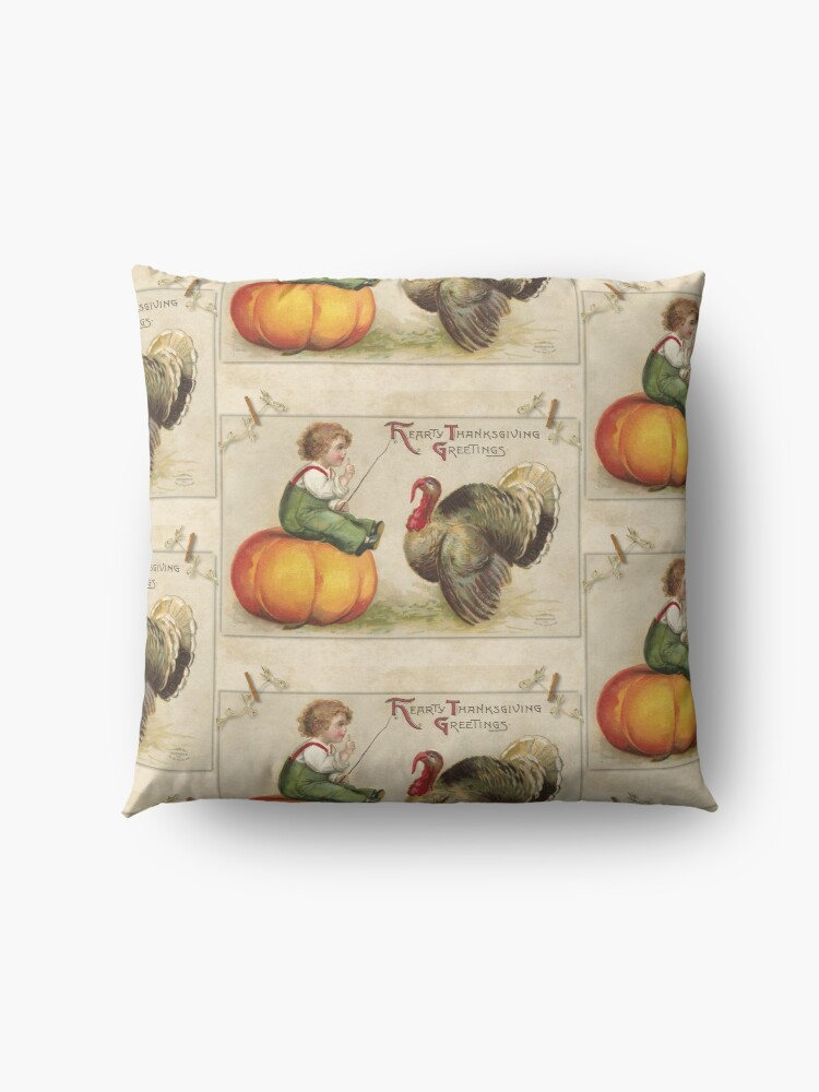 Alternate view of Adorable Child Sitting on a Thanksgiving Pumpkin Tempting a Tom Turkey Floor Pillow
