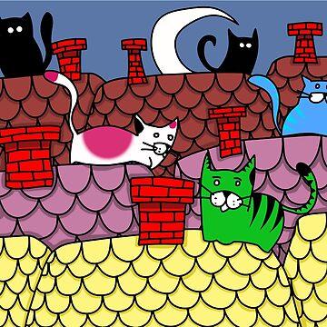 Catfull Roof by cartoonblog