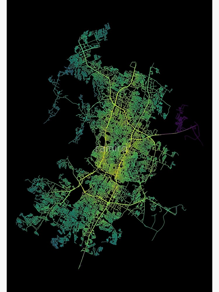 Austin, Texas, USA Colored Street Network Map Graphic by ramiro