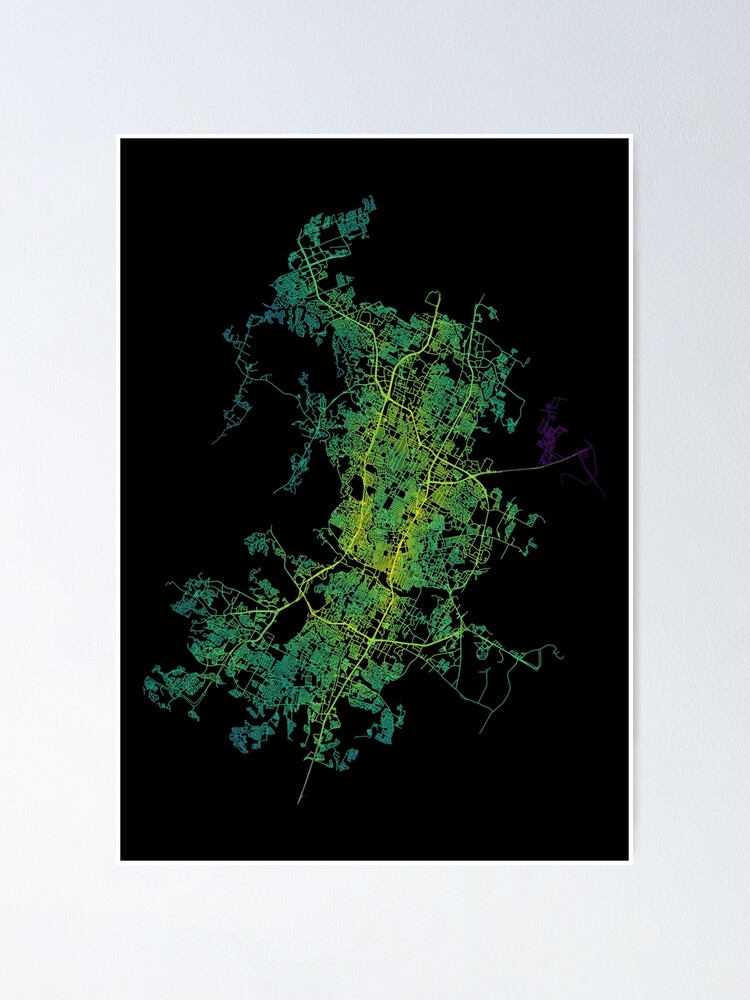 Alternate view of Austin, Texas, USA Colored Street Network Map Graphic Poster