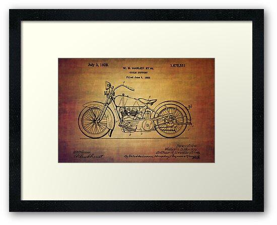 Harley Davidson Patent From 1928 by Eti Reid