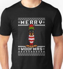 Dobermann Dog Merry Woofmas T-Shirt, Christmas Gift Unisex T-Shirt