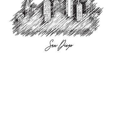 San Diego graphic scribble skyline by DimDom