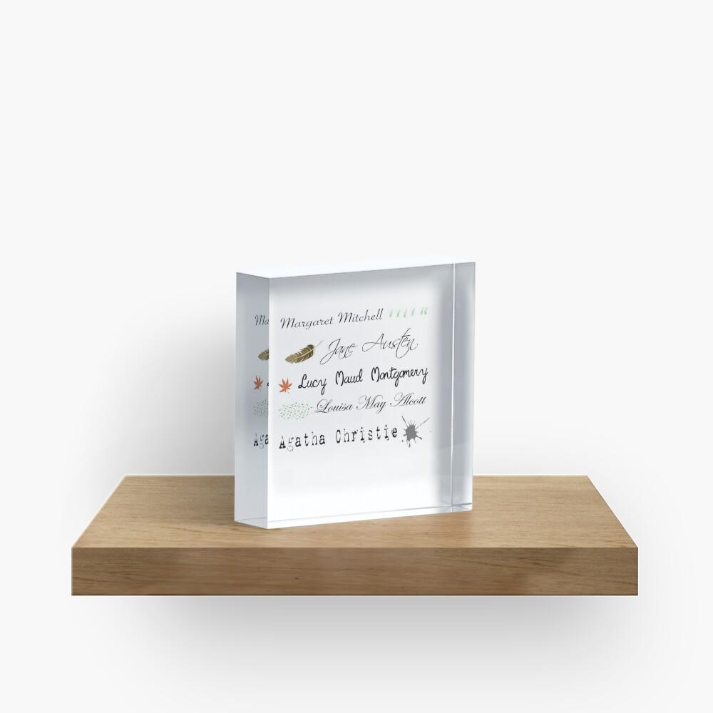 Frauen Schriftsteller Bücherwurm Acrylblock