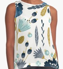 Blue and yellow floral watercolor Sleeveless Top