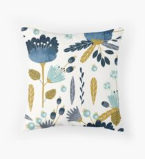 Blue and yellow floral watercolor Throw Pillow