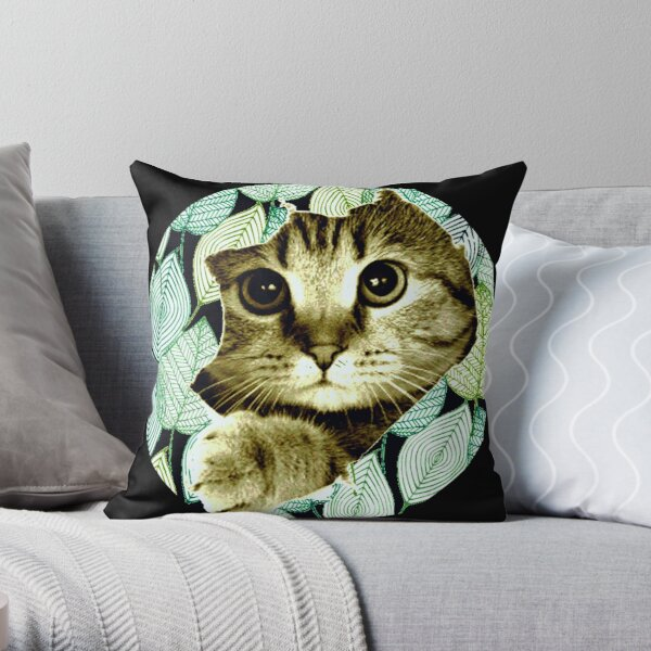 Cat and Leaves Coussin