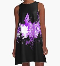 Dragon Purple Flames A-Line Dress