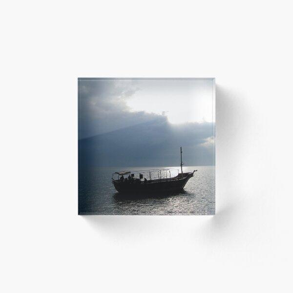 Boat on Sea of Galilee, Israel Acrylic Block