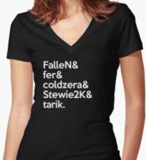 mibr 'Team' White Women's Fitted V-Neck T-Shirt