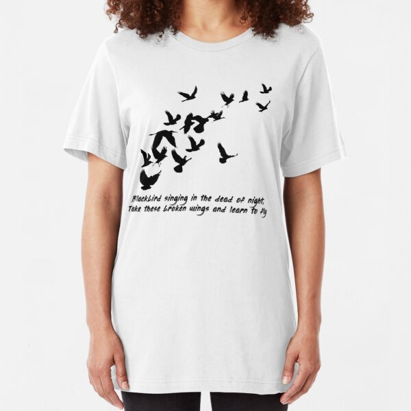 Blackbird, Beatles - Lyrics Slim Fit T-Shirt