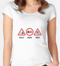 Rally, Drag, Drift sign design Women's Fitted Scoop T-Shirt