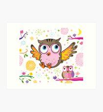 Glitterbugs Owl Art Print