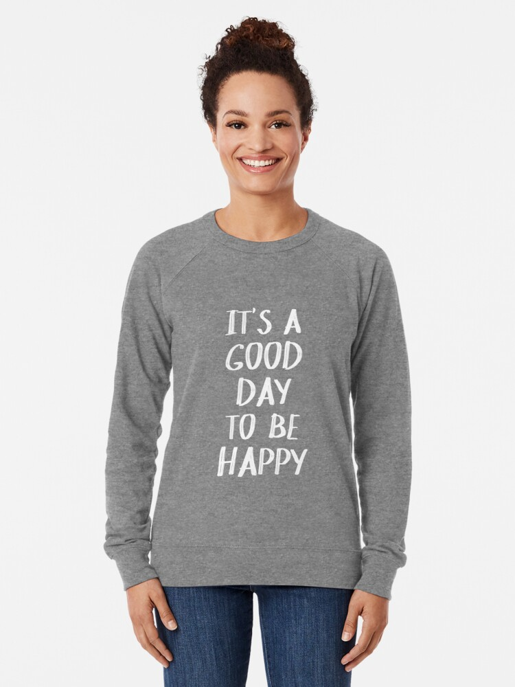 Alternate view of It's a Good Day to Be Happy in Yellow Lightweight Sweatshirt