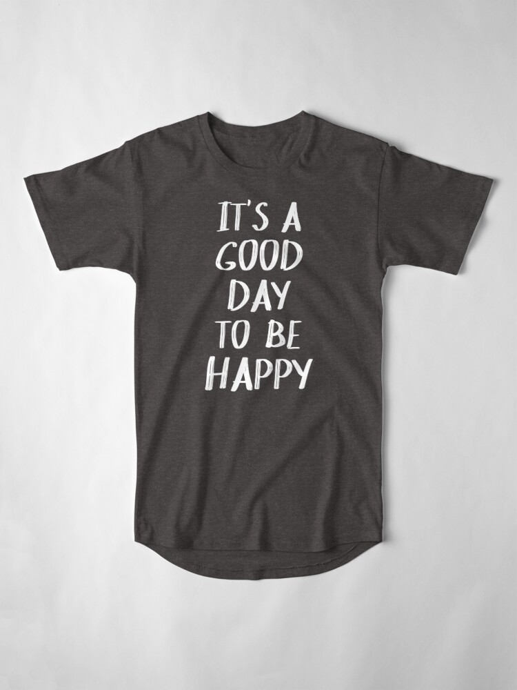 Alternate view of It's a Good Day to Be Happy in Yellow Long T-Shirt