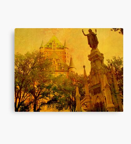 Chateau Frontenac, Quebec City   & Statue    Canvas Print