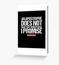 Tarjeta de felicitación Apostrophe Make Word Plural English Grammar Teacher camiseta