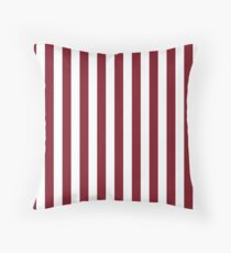 Deep Dark Red Pear and White Beach Hut Stripe Throw Pillow