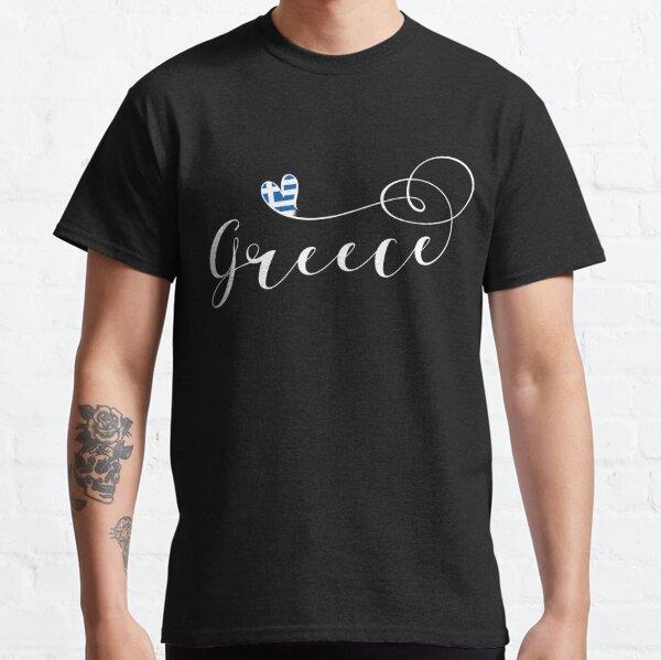 Greece Heart, Greek Flag, Hellenic Republic, I Love Greece Classic T-Shirt