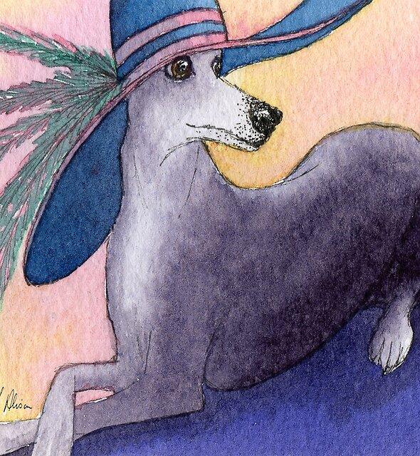 Fabulous Greyhound dog in a Fabulous Hat! by SusanAlisonArt