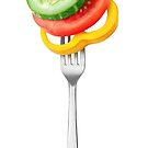 Veggies on a fork by 6hands