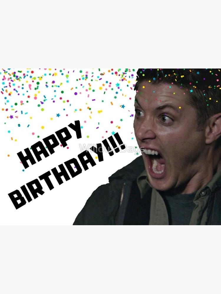 Supernatural Birthday Card Dean Birthday Card Meme Greeting Cards