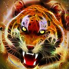 Cosmic Fire Tiger Roar by BluedarkArt