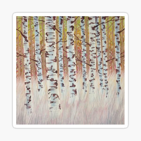 Birches in Grass Sticker