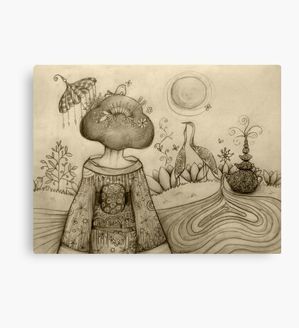Teapot Topiary drawing Canvas Print