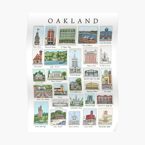 Oakland California historic landmarks illustrations Poster