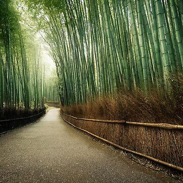 Kyoto Arashiyama bamboo forest path beautiful dreamy scenery art photo print by AwenArtPrints