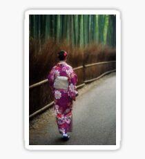 Young Japanese woman in kimino walking along Arashiyama bamboo forest in Kyoto art photo print Sticker