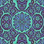 Poppy Pods Floral Mandala Pattern Mint and Purple by clipsocallipso