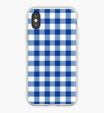 GINGHAM WHITE AND BLUE iPhone Case