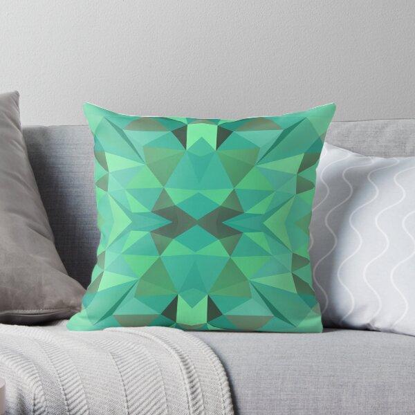 Turquoise Polygonal Pattern Throw Pillow