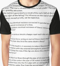 Document, Problem 1. A rectilinear wooden rod of 10 meters long and weighing 10 kilograms has an electric charge of 1 μC #Physics Graphic T-Shirt