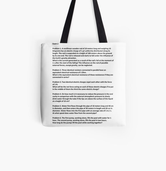 Document, Problem 1. A rectilinear wooden rod of 10 meters long and weighing 10 kilograms has an electric charge of 1 μC #Physics All Over Print Tote Bag