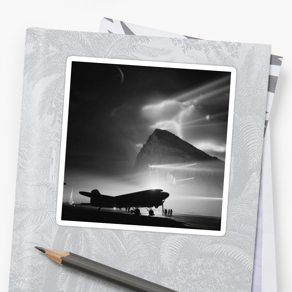 DC-3 Airliner Silhouetted by Searchlights - Rock of Gibraltar - WW2 by warishellstore