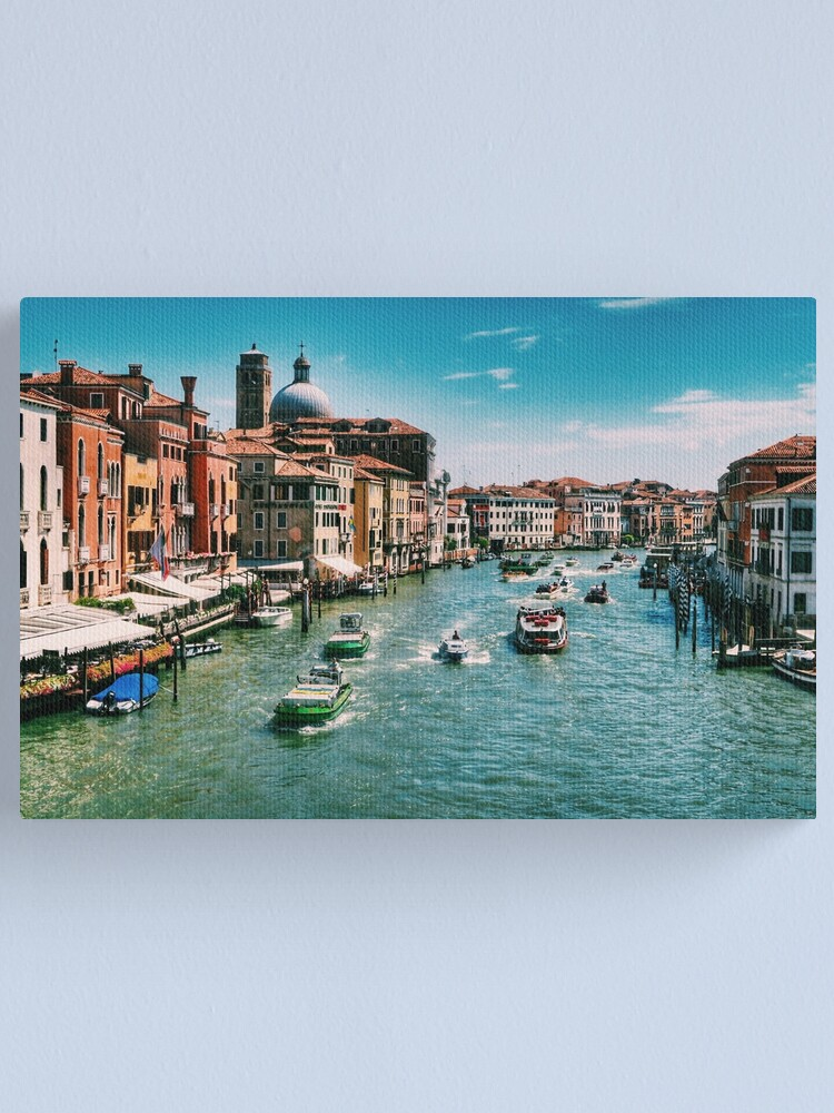 Alternate view of Venice Grand Canal boats at the train station in summer  Canvas Print