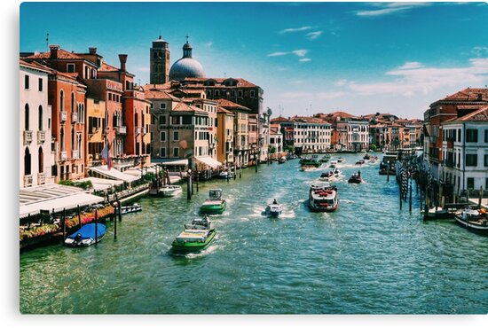 Venice Grand Canal boats at the train station in summer  by Paul Mc Namara