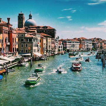 Venice Grand Canal boats at the train station in summer  by paulmcnam