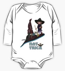 Hat Trick  .. A cute witch and black cat Kids Clothes