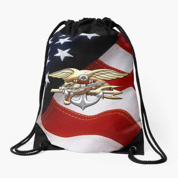 U.S. Navy SEALs Trident Emblem  Drawstring Bag