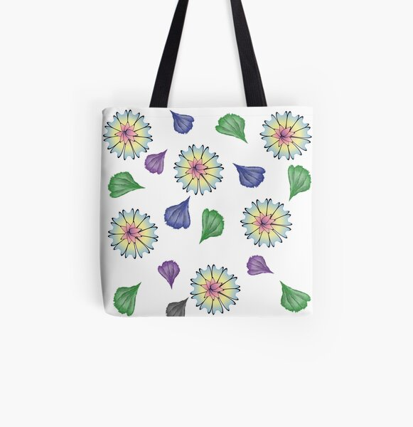 Flowers, flower, pattern, background, leaf, leaves, nature, forest, woodland, garden, floral All Over Print Tote Bag